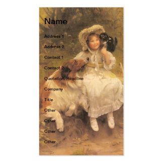 Vintage Girl With Collie and Kitten Business Cards
