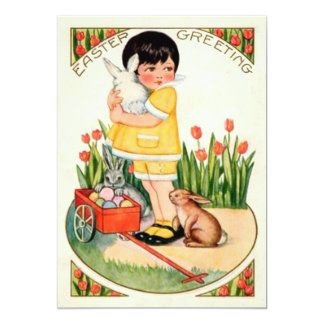 Vintage Girl With Easter Bunnies & Eggs Easter 13 Cm X 18 Cm Invitation Card
