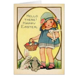Vintage Girl With Easter Bunnies & Eggs Easter Car Greeting Card