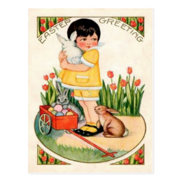 Vintage easter girl gifts on zazzle uk vintage girl with easter bunnies eggs easter postcard negle Choice Image