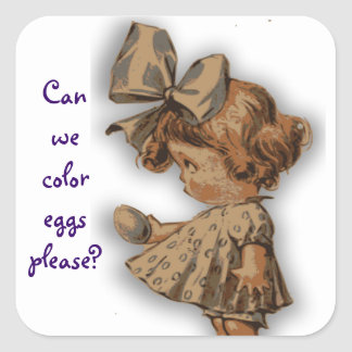 Vintage Girl With Egg Sticker