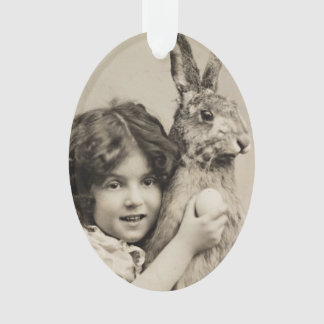Vintage girl with giant Easter bunny