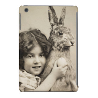 Vintage girl with giant Easter bunny iPad Mini Covers