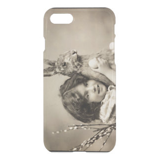Vintage girl with giant Easter bunny iPhone 7 Case