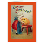 Vintage Girl With Pumpkin Card