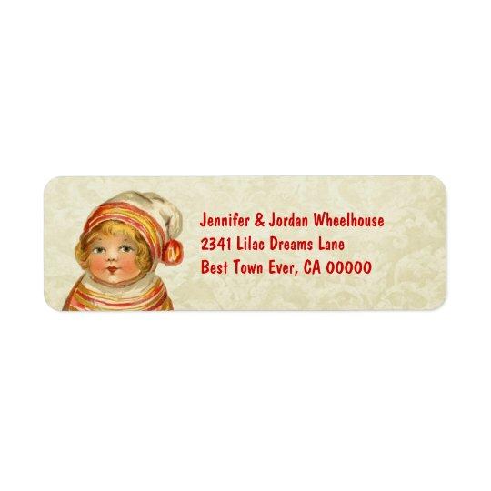 Vintage Girl with Red Hat CH201 Return Address Label