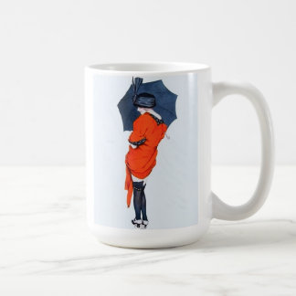 Vintage Girl With Umbrella Basic White Mug