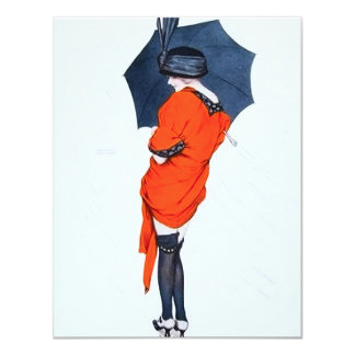 Vintage Girl With Umbrella Invitations