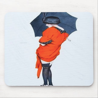 Vintage Girl With Umbrella Mouse Pad