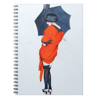 Vintage Girl With Umbrella Notebook