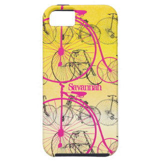 Vintage Girl Yellow Pink Bike Damask Iphone 5 iPhone 5 Cases