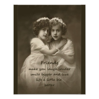 Vintage Girlfriends Friendship Quote Poster