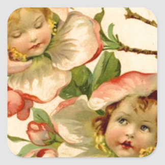 Vintage Girls In Flowers Easter Card Stickers