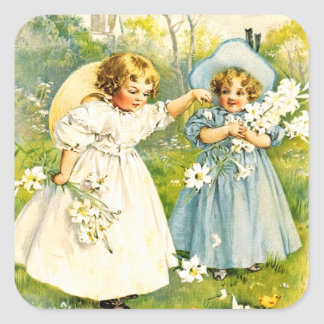Vintage Girls with Chicks. Easter Gift Stickers