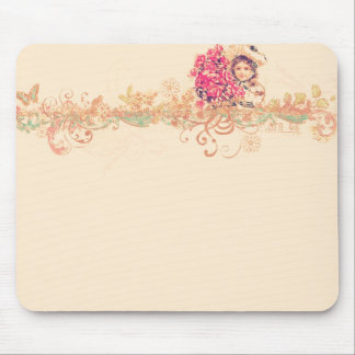 Vintage girly angel girl floral romantic victorian mouse pad