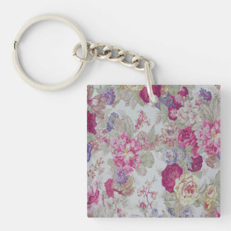 Vintage Girly Elegant Pink Roses Square Acrylic Key Chain