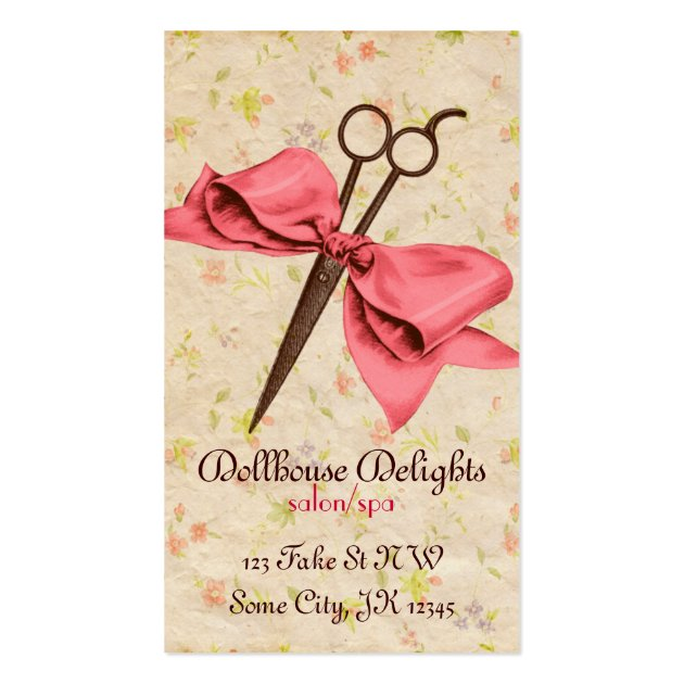 Pink Fashion Hairdresser Business Card: Vintage Girly Hair Stylist Pink Bow Floral Shears Business