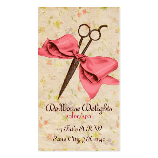 vintage girly hair stylist pink bow floral shears pack of standard business cards