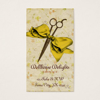 vintage girly hair stylist yellow bow shears business card