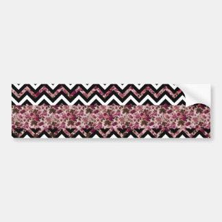 Vintage Girly Pink Chevron Floral Pattern Bumper Sticker