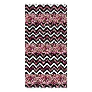 Vintage Girly Pink Chevron Floral Pattern Picture Card