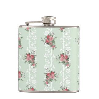 Vintage Girly Pink Floral Flasks