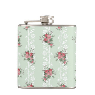 Vintage Girly Pink Floral Hip Flask