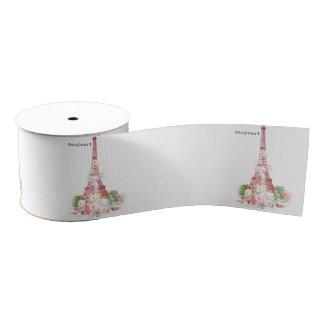 Vintage girly pink flowers Paris Eiffel Tower Grosgrain Ribbon