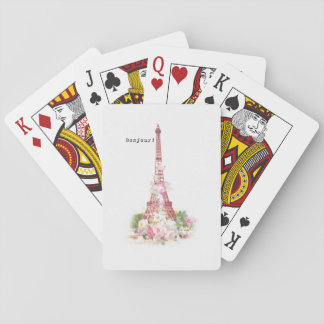 Vintage girly pink flowers Paris Eiffel Tower Playing Cards