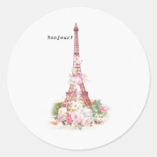 Vintage girly pink flowers Paris Eiffel Tower Round Sticker