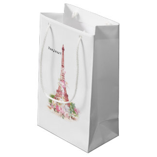 Vintage girly pink flowers Paris Eiffel Tower Small Gift Bag