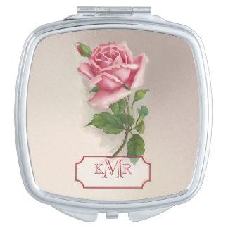 Vintage Girly Pink Rose and Monogram Vanity Mirror