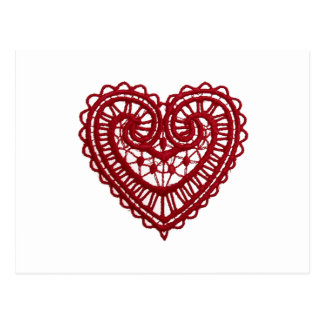 Vintage Girly Red Lace Heart Post Cards