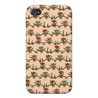 Vintage Girly Red Orange Tulips Floral Case For iPhone 4