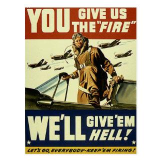 Vintage Give em Hell Postcard