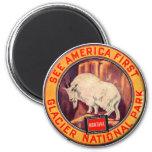 Vintage Glacier National Park See America First 6 Cm Round Magnet