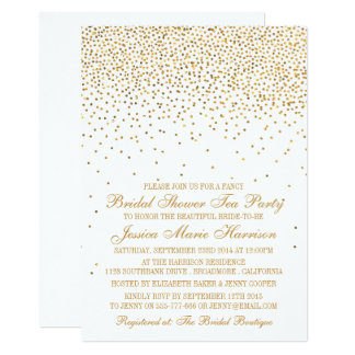 Vintage Glam Gold Confetti Bridal Shower Card