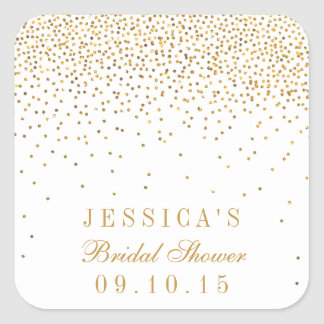 Vintage Glam Gold Confetti Bridal Shower Stickers