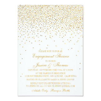Vintage Glam Gold Confetti Engagement Shower Card