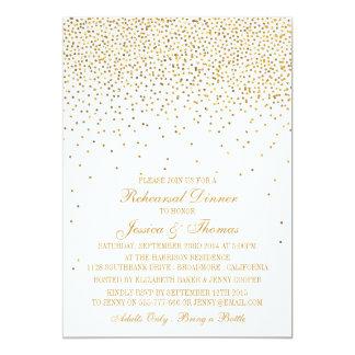 Vintage Glam Gold Confetti Rehearsal Dinner 13 Cm X 18 Cm Invitation Card