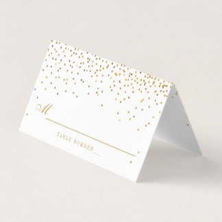 Vintage Glam Gold Confetti Wedding Place Card
