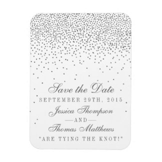Vintage Glam Silver Confetti Save The Date Magnets