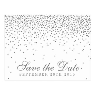 Vintage Glam Silver Confetti Save The Date Postcard