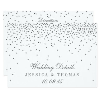 Vintage Glam Silver Confetti Wedding Detail Cards