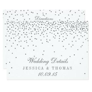 Vintage Glam Silver Confetti Wedding Detail Cards 11 Cm X 16 Cm Invitation Card