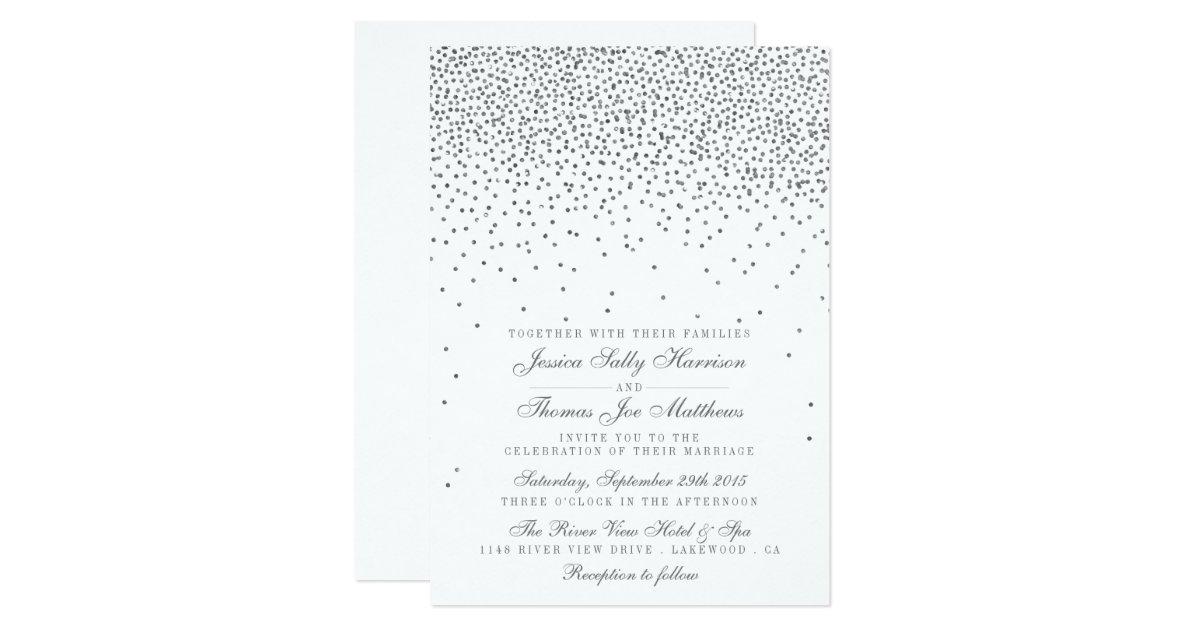 Vintage Glam Wedding Invitations: Vintage Glam Silver Confetti Wedding Invitations