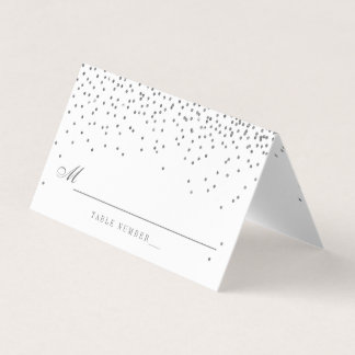 Vintage Glam Silver Confetti Wedding Place Card