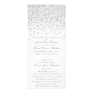 Vintage Glam Silver Confetti Wedding Program Cards Full Colour Rack Card
