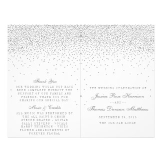 Vintage Glam Silver Confetti Wedding Programs Flyer