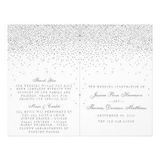 Vintage Glam Silver Confetti Wedding Programs Flyer